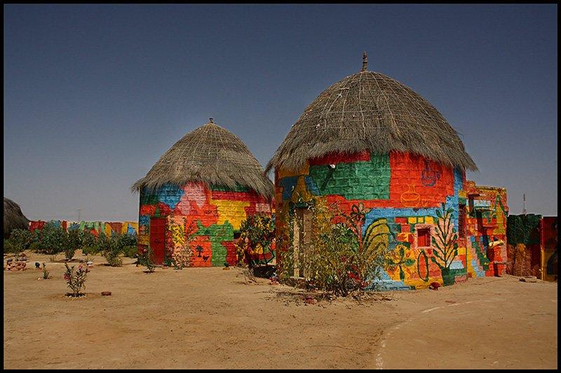 colorful houses - Village near Jaisalmer, Rajasthan